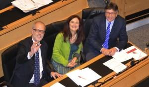 Die grünen Landtagsabgeordneten Heiss, Foppa und Dello Sbarba