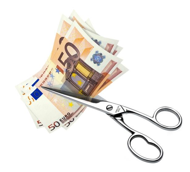 geld euro teilen viel geld schere