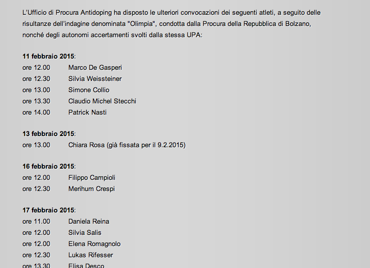 Die Mitteilung der Coni-Anti-Doping-Behörde