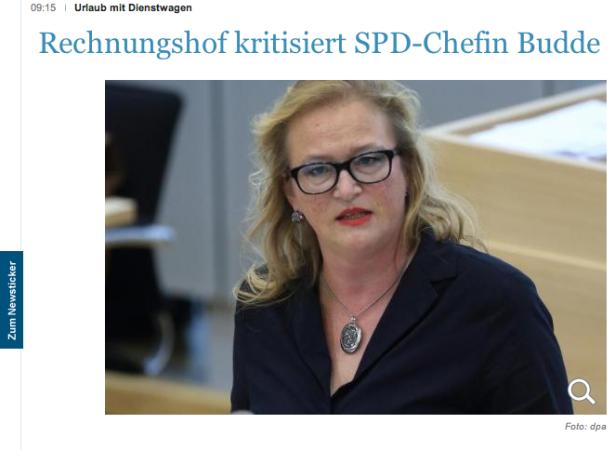 """SPD-Chefin Budde (Screenshot """"Die Welt"""")"""