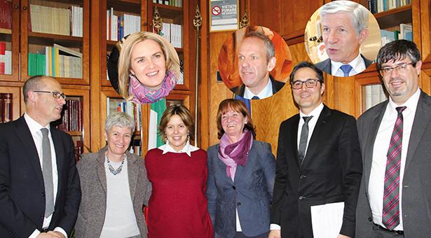 neu LH Ugo Rossi, LRin Donata Borgonovo Re, LRin Martha Stocker, LH Arno Kompatscher und der Abgeordnete Albrecht Plangger
