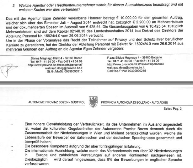 Ausriss aus der Antwort von Landesrätin Deeg