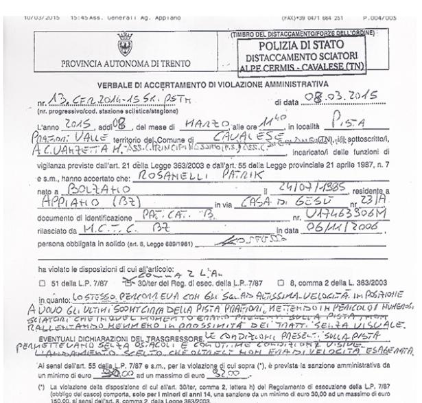 Ausriss aus dem Strafprotokoll der Pistenpolizei Cermis