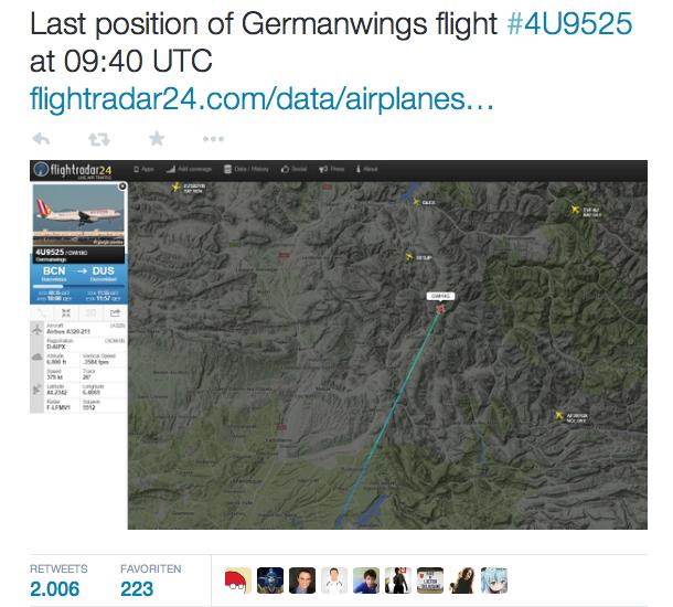 Die letzte Position des abgestürzten Airbusses