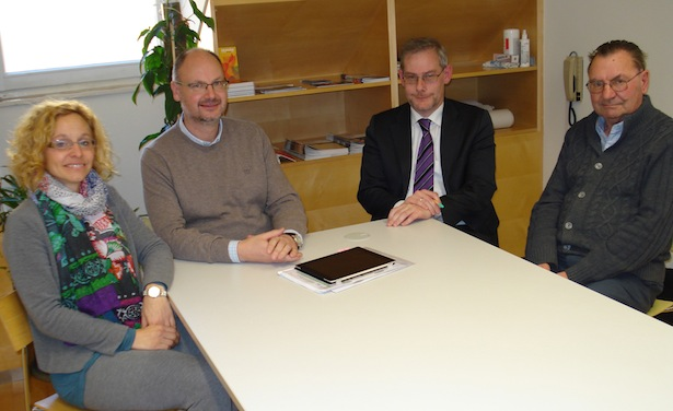Volksanwältin Gabriele Morandell, KVW Landesvorsitzender Werner Steiner, KVW Geschäftsführer Werner Atz und Josef Stricker, der geistliche Assistent des KVW.