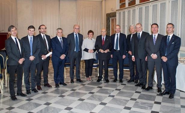 Incontro tra i senatori del Gruppo Per le Autonomie PSI-MAIE ed il Presidente emerito, senatore a vita Giorgio Napolitano.