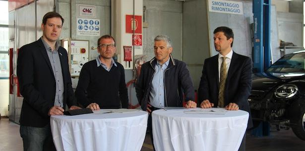 lvh-Vizepräsident Martin Haller, SAG-Präsident Manfred Huber, Obmann der Karosseriebauer Gregor Gross und Daniel Alfreider