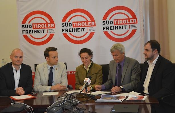 Cristian Kollmann, Sven Knoll, Myriam Atz Tammerle, Bernhard Zimmerhofer, Stefan Zelger.