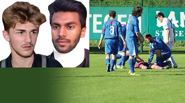 Schiedsrichter am Boden: Halim Kumrija verpasste Zihadul Azam eine Kopfnuss (Foto: Alto Adlige)