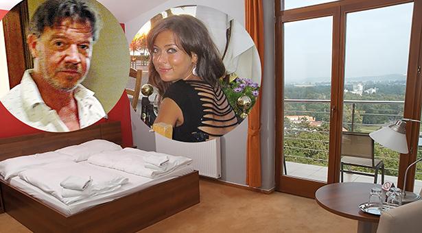 """Konrad Mitterrutzner, Gabriela G. und ihr Hotelzimmer im Hotel """"Panorama"""" in Piestany"""
