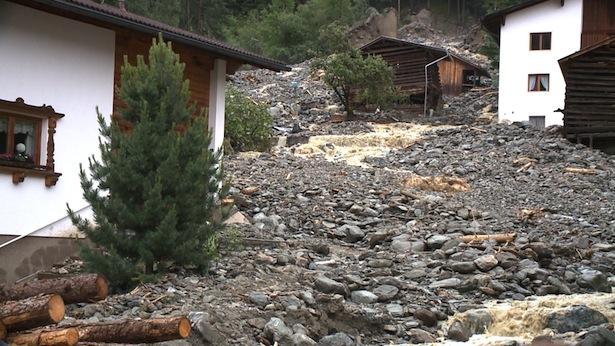 Die Mure im Ortszentrum von See (Alle Fotos: Amt der Tiroler Landesregierung)