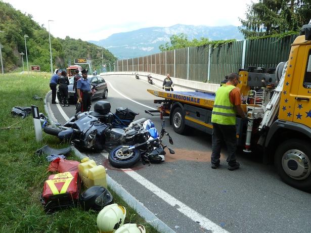 Motorradunfall in Auer (Foto: FF Auer)