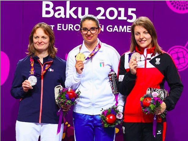 Petra Zublasing siegt vor  Laurence Brize  und Olivia Hofmann (Foto: Instagram - Baku 2015)