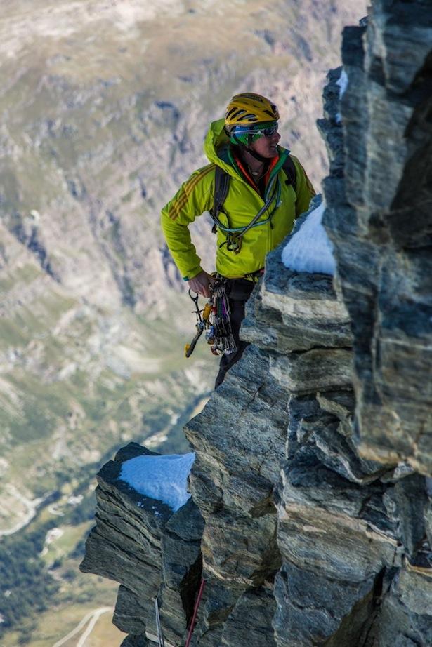 Michi Lerjen in der Gogna Route, Matterhorn Nordwand