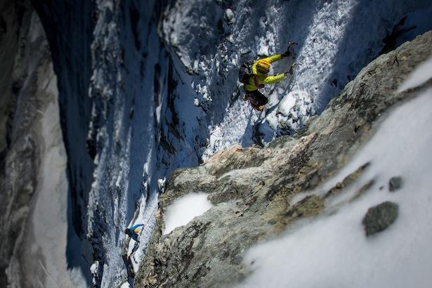 Michi Lerjen und Jorge Ackermann in der Gogna Route, Matterhorn Nordwand