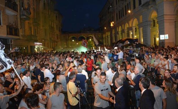 Die Alessandria-Fans bei der offiziellen Vorstellung der Mannschaft (Alle Fotos: US Alexandria)