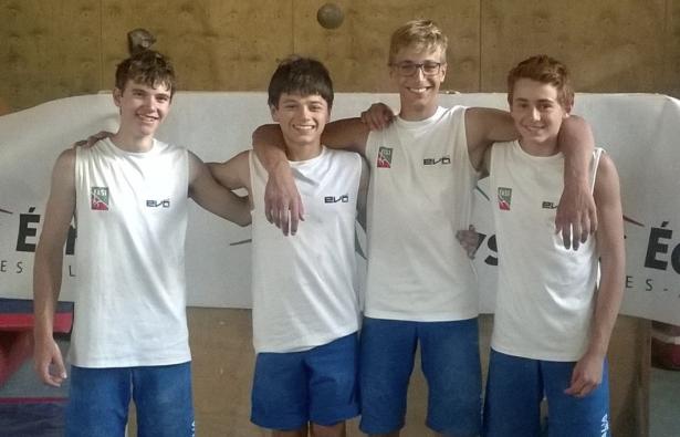 Die erfolgreichen U16-Herren, v.l.n.r.: David Piccolruaz, Pietro Biagini, Matteo Manzoni, Filip Schenk (Foto: Davide Manzoni)