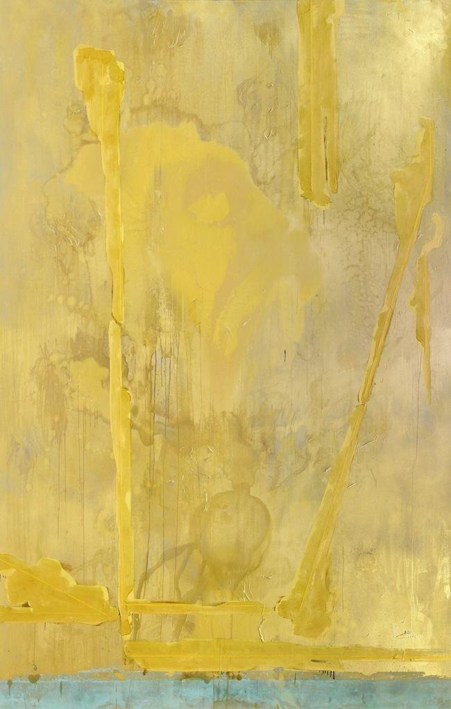 Malerei von Hannes Vonmetz Schiano: Der Zahn der Vernichtung nagt von unten an der Pracht.