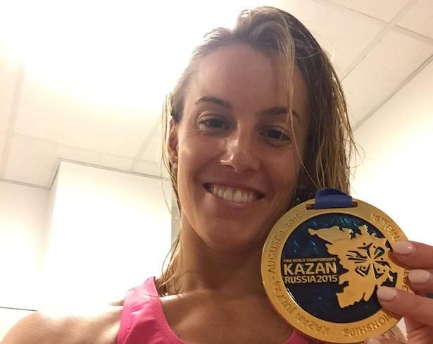 Tania Cagnotto mit ihrem ersten WM-Gold (Foto: Twitter)