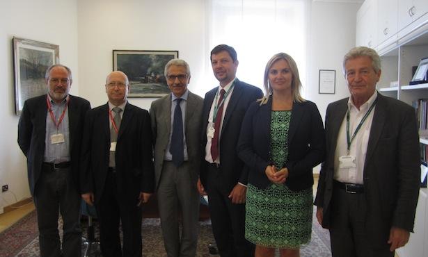 Im Bild von links nach rechts: RFI-Ing. Bocchimuzzo und Costa, RFI-Geschäftsführer Gentile, die SVP-Vertreter Alfreider, Gebhard und Schiefer (Foto: Sonja Schiefer)