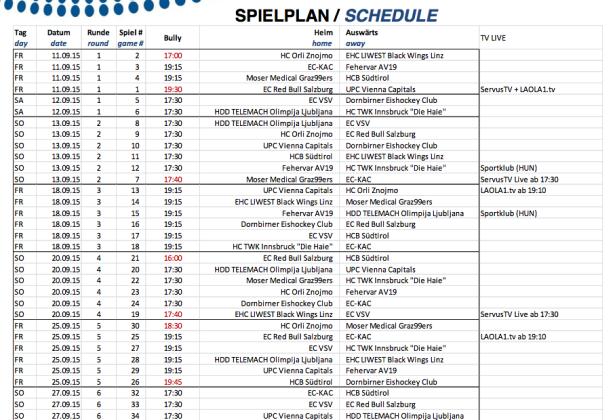 Der Spielplan (Quelle: EBEL.at)
