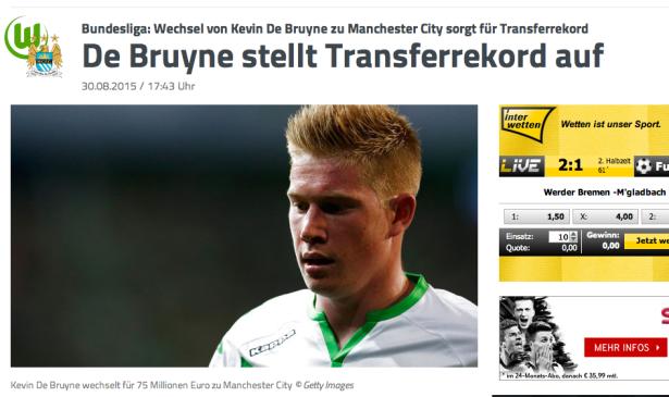 Kevin De Bruyne im einem Sport.1-Screenshot