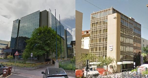 Das Gebäude in der Duca d'Aosta-Straße (links) und jenes am Universitätsplatz