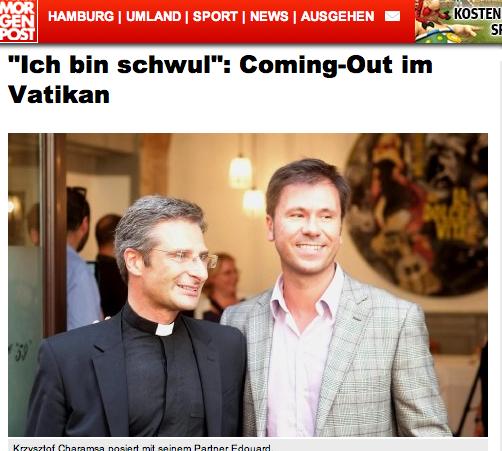 Priester Charamsa mit seinem Lebensgefährten (Screenshot: Hamburger Morgenpost)