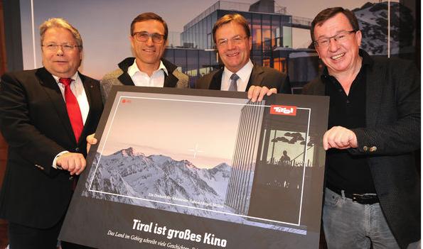Franz Hörl (Wirtschaftskammer), Josef Margreiter (Tirol Werbung), LH Günther Platter und Jack Falkner (Bergbahnen Sölden) ©Tirol Werbung