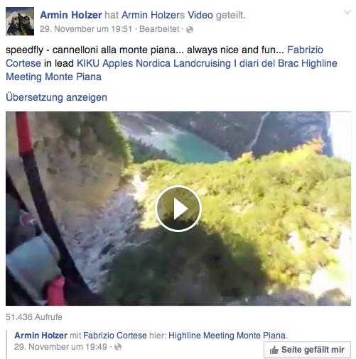 Das letzte Video von Armin Holzer auf Facebook