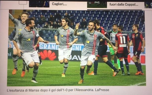 Im Screenshot von Gazzetta online ist Manuel Marras nach dem 1 zu 0 zu sehen (ganz links jubelt Manuel Fischnaller)