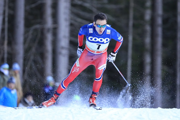 Finn Haagen Krogh competes during the FIS Cross Country Ski World Cup Sprint qualification race in Dobbiaco, Toblach, on December 19, 2015. Credit: Pierre Teyssot