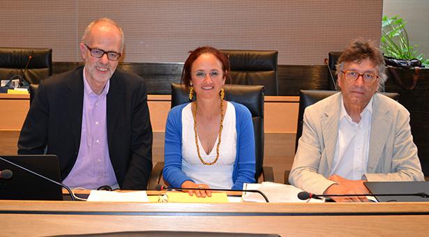 Die grünen Abgeordneten Hans Heiss, Brigitte Foppa und Riccardo Dello Sbarba