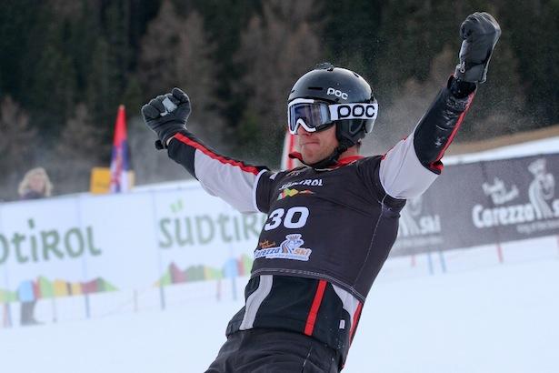 FIS Snowboard World Cup - Carezza - PGS - Radoslav Yankov (BUL) celebrates victory © Oliver Kraus