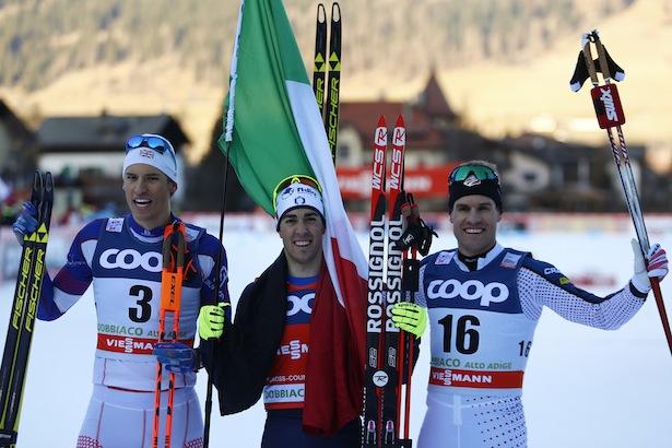 FIS Cross Country Ski World Cup Sprint race in Dobbiaco, Toblach, on December 19, 2015. Italy's Federico Pellegrino wins the men race. Maiken Caspersen Falla (NOR) wins the ladies race. Credit: Pierre Teyssot