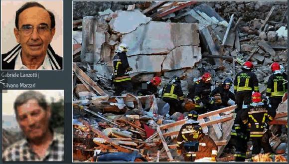 Die Trümmer des Hauses und die beiden Todesopfer (Alle Fotos: L'Adige)