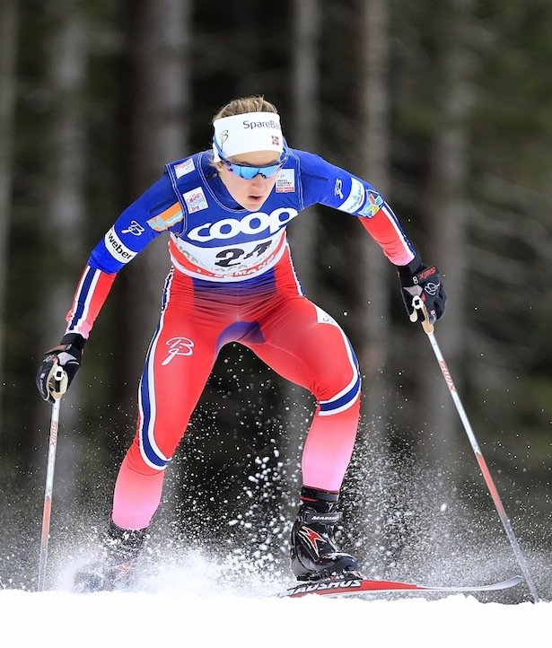 Ingvild Flugstad Oestberg  competes during the FIS Cross Country Ski World Cup Sprint qualification race in Dobbiaco, Toblach, on December 19, 2015. Credit: Pierre Teyssot