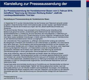 Die Aussendung der Polizeidirektion Tirol