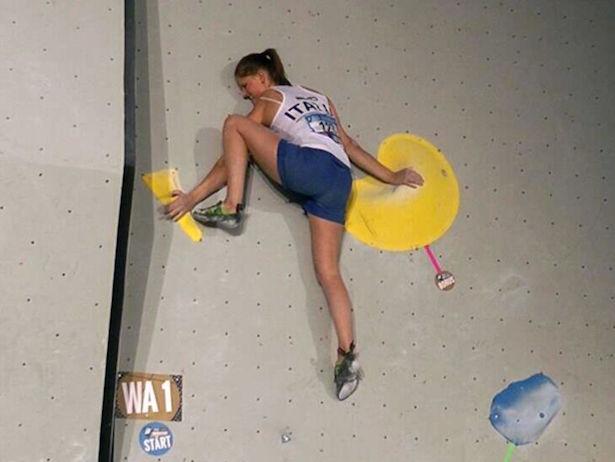 Andrea Ebner klettert in der Qualifikation (Foto: Alexander Ebner)