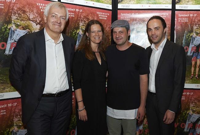 VBB-Präsident Thomas Seeber, Intendantin Irene Girkinger, Autor Martin Plattner und LR Philipp Achammer.