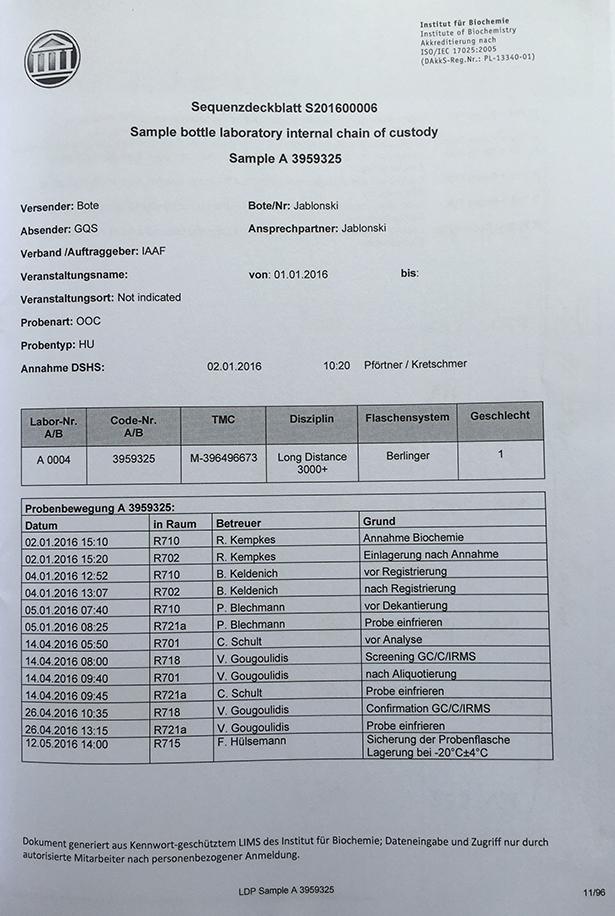 Die Aufzeichnungen des Kölner Labors zur Schwazer-Probe