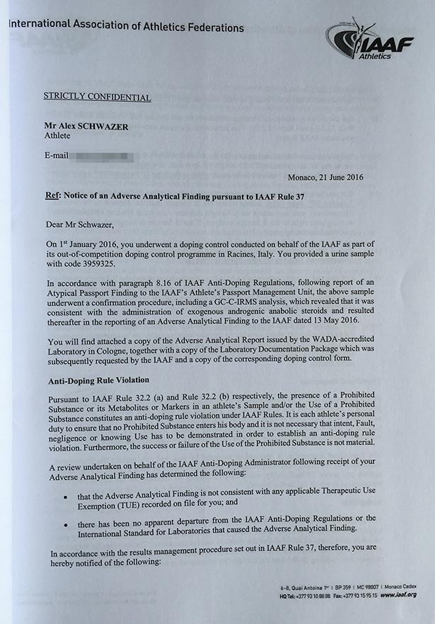 Die E-Mail von Thomas Capdevielle an Alex Schwazer