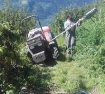 Traktor in Schieflage