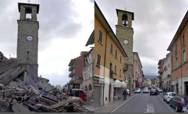 Die Stadt Amatrice vor und nach dem Beben (Foto: Corriere della Sera)