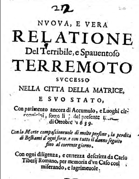 Aufzeichnungen zum Erdbeben 1639 (Foto: Repubblica)