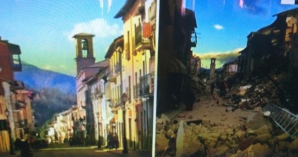 Das Städtchen Amatrice vor und nach dem Beben