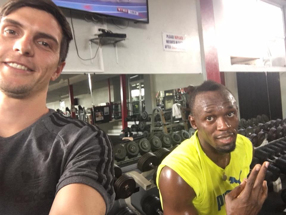 Simon Martinello mit Usain Bolt
