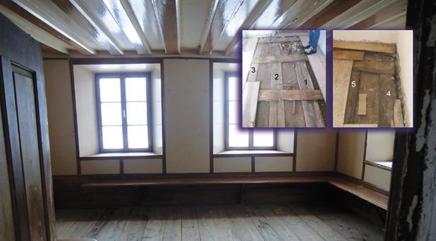 """Die Stube des Freihofes mit der Balkendecke: """"Die Fichtenhölzer konnten eindeutig datiert werden, das Endjahr der Mittelkurve ist 1793."""""""