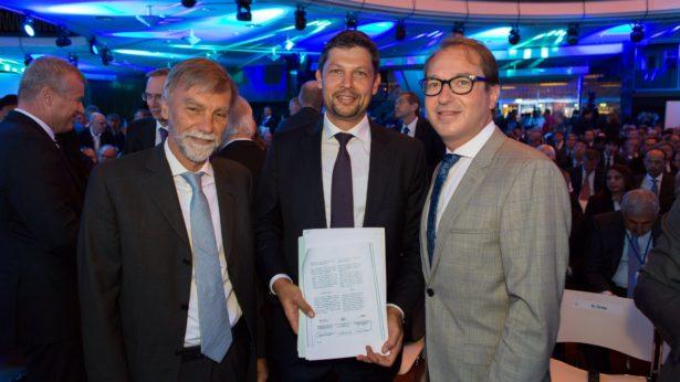 Minister Graziano Delrio, K.-Abg. Daniel Alfreider, Bundesminister Alexander Dobrindt