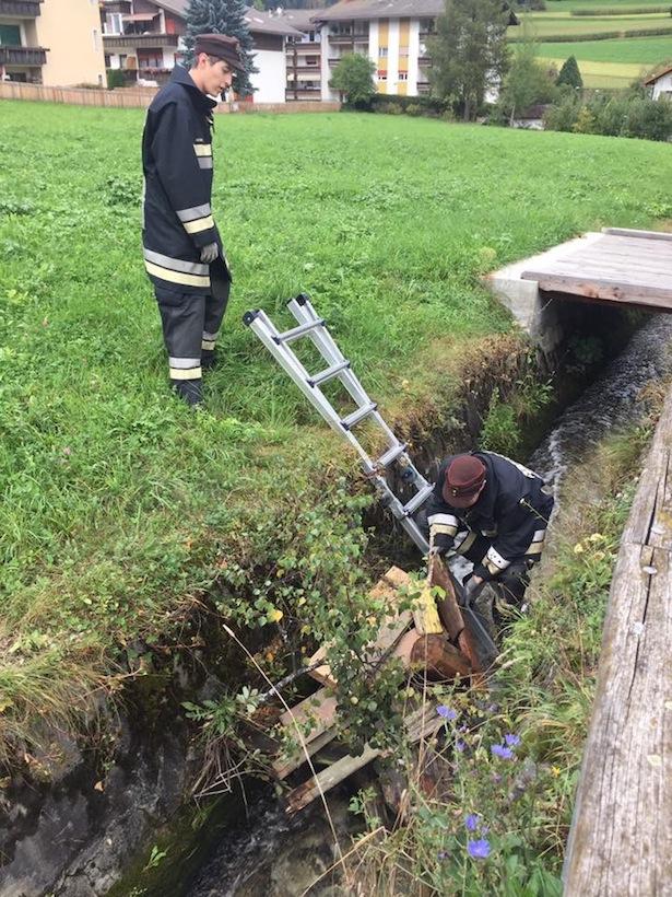 Der Einsatz der Feuerwehr (Foto: FF St. Lorenzen)